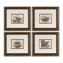 Uttermost - Uttermost Horses Art Set of 4 - 33590 - -Accented by white mats, these prints are surrounded by bronze leaf frames with a black wash