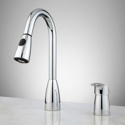 Lennox Single-Lever Pull-Down Kitchen Faucet - Take advantage of two water flow options with the Lennox Single-Lever Kitchen Faucet. This dual-function faucet has a pull-down spray.
