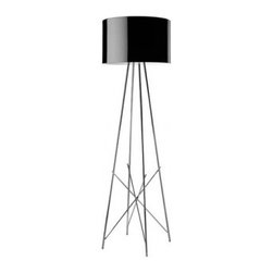 """Flos - Ray F1 floor lamp - Catalog featured - Product description:  The Ray floor lamp has been designed by Rodolfo Dordoni from Flos. This floor lamp provides diffused and direct light. Made from Aluminum, this structure features a aluminum or glass outer shade. The Shade is available in Black or White finish. A table version is also available.        Details:                                Manufacturer:               Flos                                   Designer:                             Rodolfo Dordoni - cir. 2008                                                Made in:              Italy                                  dimensions:                Height: 50"""" (127 cm)  x Diameter: 14 1/4 (36 cm)                                  Light bulb:               1 x 150W Halogen                                  Material:               aluminum, glass"""