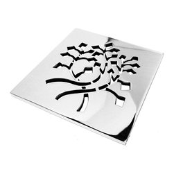 "Designer Drains - Nature Leaves Shower Drain, Polished Stainless Steel - Polished Stainless Steel drain measures 5/32"" thick x 3.75"" x 3.75"" Square.  Made in U.S.A."