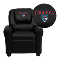 "Flash Furniture - Columbus State University Cougars Embroidered Black Vinyl Kids Recliner - Get young kids in the college spirit with this embroidered college recliner. Kids will now be able to enjoy the comfort that adults experience with a comfortable recliner that was made just for them! This chair features a strong wood frame with soft foam and then enveloped in durable vinyl upholstery for your active child. This petite sized recliner is highlighted with a cup holder in the arm to rest their drink during their favorite show or while reading a book.; Columbus State University Embroidered Kids Recliner; Embroidered Applique on Oversized Headrest; Overstuffed Padding for Comfort; Durable Black Vinyl Upholstery; Easy to Clean Upholstery with Damp Cloth; Cup Holder in armrest; Solid Hardwood Frame; Raised Black Plastic Feet; Intended use for Children Ages 3-9; 90 lb. Weight Limit; Meets or Exceeds CA117 Fire Resistance Standards; Safety Feature: Will not recline unless child is in seated position and pulls ottoman 1"" out and then reclines; Assembly Required: Yes; Country of Origin: China; Warranty: 2 Years; Dimensions: 27""H x 24""W x 21.5 - 36.5""D"