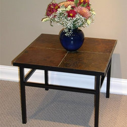 4D Concepts - End Table in Metal w Black Finish and Slate T - Slate top table is ideal next to a sofa or as an accent table in any room. Metal-framed table enjoys straight lines in the modern style. Large, slate surface boasts four tiles that fit together. The unique variations in the slate tiles makes this table a winner. Metal w Slate finish. Crafted steel and slate end table. Metal is finished in a rich powder coated black. Squared legs give the table a unique look. Large slate surface adds color and a certain elegance. Constructed of metal and stone. Clean with a dry non abrasive cloth. Some assembly required. 23.6 in. W x 23.6 in. D x 17.7 in. HWhat a beautifully crafted steel and slate end table. This end table is perfect for any den, living room, nook, or patio in the home and will meet all of your needs. The large slate surface adds color and a certain elegance to your home.