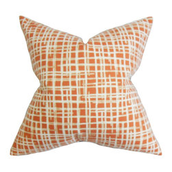 The Pillow Collection - Onslow Plaid Pillow Orange - Liven up your space with this cozy and sleek throw pillow. This accent pillow features a unique plaid pattern in white on a persimmon orange background. This decor pillow lends pizzazz and comfort to any of your rooms. Pair this up with solids and other patterns for an unconventional look. Constructed with 100% high-quality cotton fabric. Hidden zipper closure for easy cover removal.  Knife edge finish on all four sides.  Reversible pillow with the same fabric on the back side.  Spot cleaning suggested.