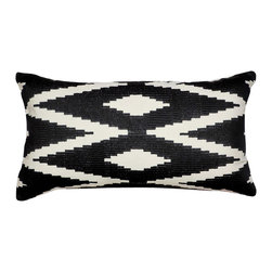 1414 Home - Modern Ethnic Embroidered Cotton Throw Accent Pillow Cover, Black, 14x24 - Embroidered design inspired by ethnic patterns.  100% cotton.  Embroidered.  Hidden zipper closure.  Down insert.