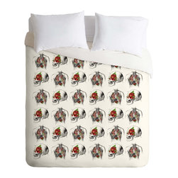 DENY Designs - DENY Designs Iveta Abolina Skulls And Roses Duvet Cover - Lightweight - Turn your basic, boring down comforter into the super stylish focal point of your bedroom. Our Lightweight Duvet is made from an ultra soft, lightweight woven polyester, ivory-colored top with a 100% polyester, ivory-colored bottom. They include a hidden zipper with interior corner ties to secure your comforter. It is comfy, fade-resistant, machine washable and custom printed for each and every customer. If you're looking for a heavier duvet option, be sure to check out our Luxe Duvets!