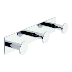 """Ginger - Ginger 2810T/PC Polished Chrome Surface Surface Triple Hook Robe Hook - Triple Hook  11.7""""W x 2.2""""H x 2.4""""D"""