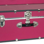Seward Trunk - Collegiate 30 in. Footlocker w Wheels in Pink - Wheeled footlocker. 2 Plastic handles. Heavy gauge vinyl. High impact styrene binding. Easy open push button key lock. Dust & moisture resistant. Tongue & groove closure. Nickel plated hardware. 1/4 in. thick wood construction. 30 in. L x 15.75 in. W x 12.25 in. H