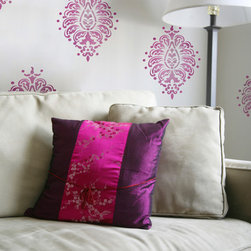 Large Bombay Paisley Motif Stencil - Bombay Paisley Motif Wall Stencil from Royal Design Studio Stencils. This large graphic design can be used once or in an allover wallpaper like pattern. This Indian element works in a den, living room, dining room, bedroom or bathroom.