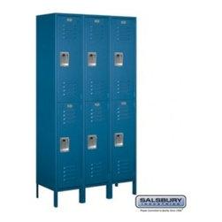Salsbury Industries - Extra Wide Standard Metal Locker - Double Tier - Blue - Assembled - Extra Wide Standard Metal Locker - Double Tier - 3 Wide - 6 Feet High - 15 Inches Deep - Blue - Assembled