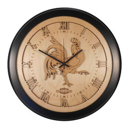 Design & Board, Inc. - Rooster Wall Clock - The Rooster Clock offered only by Design & Board is created, crafted and assembled in the U.S..  All our clocks are individually engraved, precision cut and carefully hand assembled. Each piece is made with multiple layers of natural Birch wood and finished with a durable clear lacquer finish to ensure quality.