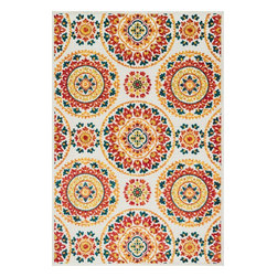 """Loloi Rugs - Loloi Rugs Oasis Collection - Red / Multi, 3'-11"""" x 5'-10"""" - Boldly designed and brightly colored, our Oasis Collection transforms any outdoor space into a modern patio paradise. This collection is power loomed in Egypt, ensuring precision in color and design for each and every piece. And because the 100% polypropylene yarns are specially tested to withstand UV rays and rain, it's the perfect all-weather rug."""