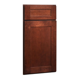 CliqStudios.com - Dayton Cherry Russet Stained Wood Shaker Kitchen Cabinet Sample - Dayton's Shaker inspired recessed panel doors and 5-piece drawer fronts in rich Cherry Russet wood stain blend perfectly with traditional, transitional design or contemporary style.  CliqStudios' Shaker kitchen cabinets offer bring simplicity and style to coordinate beautifully with stainless appliances, nickel finish hardware, glass subway tile backsplash, modern bar stools, hardwood floors and granite countertops.  Shaker works equally well in an open concept kitchen, galley kitchen, u-shaped kitchen, kitchen island, kitchen peninsula or in a nearby kitchen desk or window seat. Consider coordinating with a variety of recessed lighting, undercabinet task lighting, pendant lighting and other decorative accents.