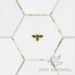 Napoleon - Aurora Collection - Napoleon, a stone water jet cut mosaic shown in polished Calacatta Baroque, Thassos, and Gold Glass, is part of the Aurora Collection by Sara Baldwin for New Ravenna.