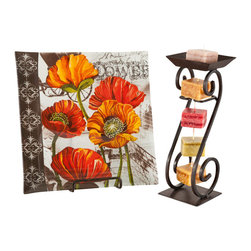 Poppy Flower Plate with Purify Candle String - This sunny poppy plate is paired with our purify scented string candle.  Refreshing and Earthy notes of sandalwood, orange, patchouli and cedar will fill your room.  Mild undertones of velvety plum and vanilla cocoa butter will naturally filter and neutralize your everyday stress.