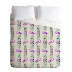 DENY Designs - DENY Designs Iveta Abolina Pattern of Flamingo Duvet Cover - Lightweight - Turn your basic, boring down comforter into the super stylish focal point of your bedroom. Our Lightweight Duvet is made from an ultra soft, lightweight woven polyester, ivory-colored top with a 100% polyester, ivory-colored bottom. They include a hidden zipper with interior corner ties to secure your comforter. It is comfy, fade-resistant, machine washable and custom printed for each and every customer. If you're looking for a heavier duvet option, be sure to check out our Luxe Duvets!