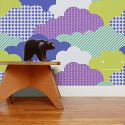 Clouds Wallpaper, Sonic - Aimée Wilder's Clouds wallpaper has a contemporary look with a whole lot of color. It would be so fun for a kid's play space.