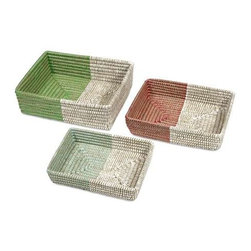 Harvey Two-Tone Woven Trays - Set of 3 - Beautifully woven of natural fiber, this set of three trays are a display of brilliant basketry that look fabulous and are functional accessories for any home.