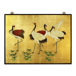China Furniture and Arts - Hand Painted Cranes Wall Plaque - The crane, seen in this piece, is a symbol of peace, longevity and happiness in Chinese culture. Exquisitely hand painted on gold-leafed wood. Matching brass hangers are included.