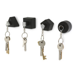 j-me design - Shapes Key Holders, Black - Bring back childhood memories with this set of four shaped key holders & key rings - Triangle, Square, Circle and Pentagon. Each key holder has a matching key ring that holds your keys securely in place. The Shapes Key Holders are perfect for families! Each key holder is individually wall-mounted so you can display them as a set or in different rooms around the house.