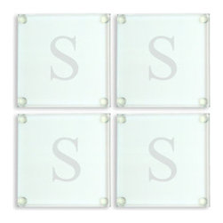Grandin Road - Set of Four Personalized Glass Coasters - Grandin Road - Classically styled, square protective coasters, monogrammed to your taste. Expertly crafted from clear glass. Engraving with a single, uppercase block initial, as shown. Simply wipe clean. Protect your furniture in signature style with our classic Set of Four Personalized Glass Coasters. A lasting and elegant solution to alternate materials, you'll cherish these glass coasters for a lifetime. Present one set as a gift, and keep another (or more) for yourself. We'll add an engraved single initial at no extra cost. Ingeniously designed with clear, protective pads at each corner to prevent damage to your fine surfaces.. . . . Personalized items are not returnable.