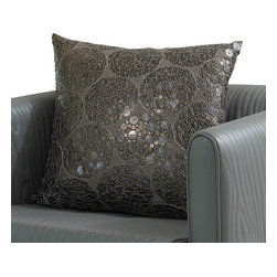 Meteor Pillow - The large flat sequin bangles are hand sewn with metal thread.