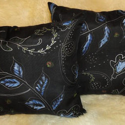 Pillow shams.Black color,abstract flowers - Black silk two pillow cowers. Hand painted abstract flowers, blue and green leaves
