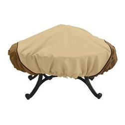 "Classic Accessories - Veranda Round Fire Pit Cover - Veranda Round Fire Pit Cover with the Gardelle Fabric System features an elegant fabric top with a protective water-repellent and resistant PVC undercoating and a protective dark splash guard skirt.  Air vents reduce inside condensation and wind lofting.  Padded handles for easy fitting and removal.  Elastic hem cord with a toggle allows adjustment for a tight and custom fit.   Click-close straps snap over legs to secure cover on the windiest days.  Fits round fire pits up to 44"" diameter. Not designed to entirely cover leg bottoms.  This item cannot be shipped to APO/FPO addresses. Please accept our apologies."