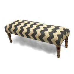 My Two Designers - Ziggy Bench - We love this chevron patterned bench for the end of a bed, in a family room or den, anywhere additional seating is desired.  Upholstered with a wool jute rug.  An international importer of handmade furnishings from Afghanistan, Africa, India, Nepal, Pakistan and Tibet, this manufacturer selects each unique piece they bring to the marketplace for the design trade.  Their success over the last thirty years is due to their commitment to excellence.