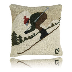 Downhill Skier Pillow - One in a charming artisan series by Vermont artist Laura Megrozof, this lovely hand-hooked design is made from 100% New Zealand wool with cotton velveteen backing. Perfect for  holiday gift-giving or for your own cozy winter decor.
