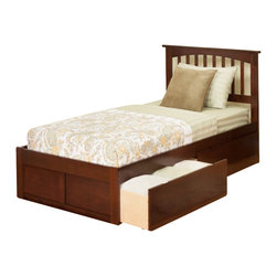 Atlantic Furniture - Atlantic Furniture Mission Bed with Drawers in Antique Walnut-Twin Size - Atlantic Furniture - Beds - AR8722114