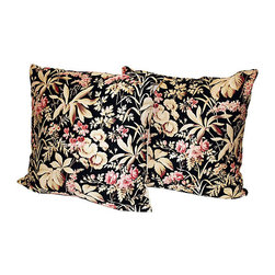 Acapillow - French Fabric Pillow, Pair - The beauty of these pillows (besides the obvious, of course) is that they flatter any color couch or bed. The delicate flowers and the dramatic black background enrich reds, browns, yellows – you name it.