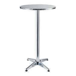 "East End Imports - 23.5"" Round Polished Aluminum Bar Table - Round Aluminum Indoor/Outdoor Pub/Bar Table."