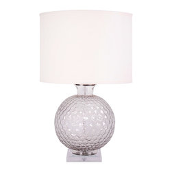 "Jamie Young - Jamie Young Clark Clear Table Lamp - Cool and contemporary, the Jamie Young Clark table lamp exudes a fresh, coastal aesthetic. The light fixture's clear glass base lends textured interest with fabulous curved ridges. Lamp: 12""W x 18""H. Shade: 18""W x 13""H. Total Height: 31""H. Optional sea salt cream linen drum shade. Accepts one 150W type A bulb (not included)."