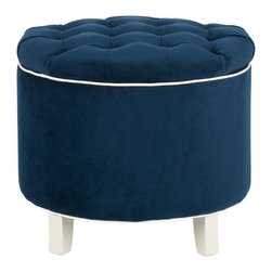 Mara Ottoman - Luxuriate in the traditional splendor of this plush ottoman. Its sueded ocean-blue upholstery will transport you to a calmer, more fabulous place. And then lift the lid to discover storage that's practical for today's busy home.