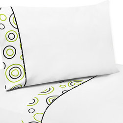 Sweet Jojo Designs - Sweet JoJo Designs 200 Thread Count Spirodot Bedding Collection 4-piece Sheet Se - This Lime and Black Spirodot set is made to coordinate with matching Sweet JoJo Designs bedding Sets. The sheets use white 100-percent cotton fabric with modern circles printed trim and black and white mini dot piping.
