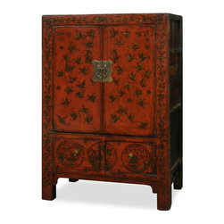 China Furniture and Arts - Elmwood Wedding Cabinet - Symbolizing joy and happiness, the butterfly was common seen in Chinese art and furniture. Butterflies decorate all around this vintage wedding cabinet, usually sent by a bride's parents and filled with linens and bedding as part of her dowry. Made of Elmwood from Northern China. One removable shelf behind the double doors and two drawers below for your storage convenience. Hand applied distressed red finish with antiqued brass hardware. Fully assembled.