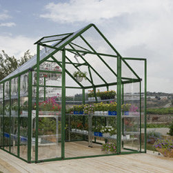 Snap & Grow Greenhouse Kit - Green - 8' x 8' - he Snap & Grow Green 8'x8' greenhouse has been engineered from the ground up to get you growing quickly. It features the innovative SmartLock connector system that allows you to assemble the heavy-duty, aluminum frame quickly and easily without a lot of hardware. The innovative split door and vent windows are even pre-assembled out of the box! The tough, crystal clear SnapGlas panels simply slide and lock into place without any complicated tools or hardware. Get growing so you too can start to enjoy greenhouse gardening in a Snap!