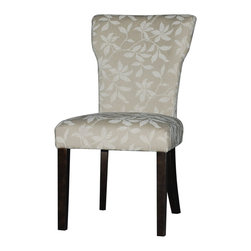 Chintaly Imports - Espresso/Neutral Floral Curved Back Parson Side Chair (Set of 2) - Curved Back Parson side chair. Cushion upholstery in Beige Floral pattern microfiber. Wood legs finished in Satin Espresso.