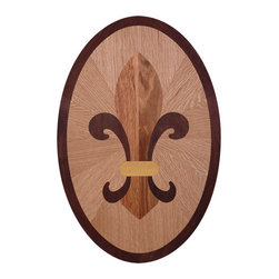 "Custom Hardwood Supply - Fleur de Lis Hardwood Flooring Inlay, 42 - This hardwood flooring inlay comes standard 3/4"" thick species.  Inlays come unfinished but can be custom ordered pre-finished for an additional charge. Manufactured in Louisville, Kentucky."