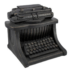 Zeckos - Antique Typewriter Home Decor Accent - This antique typewriter replica is the perfect accent to the bookshelves of avid readers and writers, alike. Made of cold cast resin, it measures 6 inches tall, 7 inches long, 6 inches wide and has a lovely cast iron finish, giving it the look of metal. This piece looks lovely anywhere in your home or office, adding a nostalgic accent to a modern home or workplace.