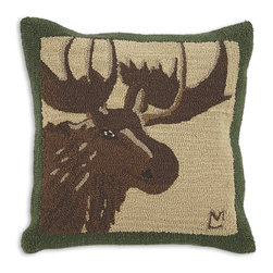 Chandler 4 Corners - Great Moose Hooked Pillow - Rustic reverie, rich textures and outdoor-inspired details define our Cabin Fever Pillow Collection.