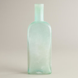 Square Sea Glass Bottle Vase - Perfect for single blooms, these sea glass bottles look lovely when used en masse lining a long table.