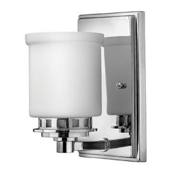 Ashley 1LT by Hinkley | Bathroom Sconce - Great details on this well priced sconce. In a pair on either side of a vanity mirror or used as up lighting on a bathroom wall-contemporary feeling but could also be used in a more traditional design for contrast.