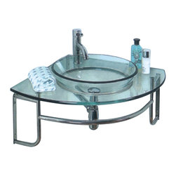 Fresca - Fresca Ordinato Corner Mount Bathroom Vanity w/ Tempered Glass Sink - Modern in style but classic in idea. Easy construction of chrome and clear glass lets this basin fit into any decor without sacrificing a touch a pizzazz. Ideal for a smaller space with otherwise wild design in the background or for a bathroom with cool tones.