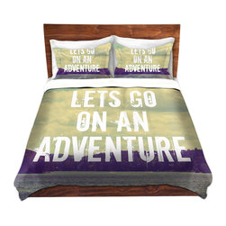 DiaNoche Designs - Duvet Cover Twill - Lets Go On An Adventure - Lightweight and super soft brushed twill Duvet Cover sizes Twin, Queen, King.  This duvet is designed to wash upon arrival for maximum softness.   Each duvet starts by looming the fabric and cutting to the size ordered.  The Image is printed and your Duvet Cover is meticulously sewn together with ties in each corner and a concealed zip closure.  All in the USA!!  Poly top with a Cotton Poly underside.  Dye Sublimation printing permanently adheres the ink to the material for long life and durability. Printed top, cream colored bottom, Machine Washable, Product may vary slightly from image.