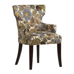 Sasha Arm Chair | Crate&Barrel - Sometimes dining rooms need a little va-va-voom, and this upholstered dining chair brings it big time. Buy a set for maximum voom, or buy a pair for the host and hostess to create mix and match seating.