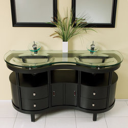"""Fresca - Fresca Unico 63"""" Espresso Modern Double Sink Vanity Set w/ Mirrors - This is a double sink version of the Simpatico Vanity (FVN3330ES). This double sink espresso vanity is really a contemporary twist on baroque furniture. Clear glass basin and a wide mirror really make this ensemble great for those looking to not just update their bathroom, but keep it classic. Many faucet styles to choose from. Optional side cabinets are available."""