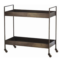 Arteriors Home - Arteriors Home Ponce Iron Bar Cart - Arteriors Home 6539 - This iron cart has a vintage aesthetic in antique brass. So inside it can display your collectibles. Poolside it can serve up towels and sunscreen. Take it for a spin and bring the party to your guests by stocking it with everything you need for the cocktail hour. And after that, you can turn it into a desert cart.