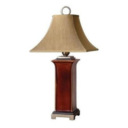 Uttermost - Uttermost 26529 Solano Table Lamp In Ceramic - Ceramic base finished in a glossy, burnt russet glaze with dark bronze accents and antiqued silver champagne details. The round top, square bottom, bell shade is a golden bronze linen fabric with natural slubbing.
