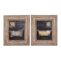 Bath Flowers Framed Art, Set of 2